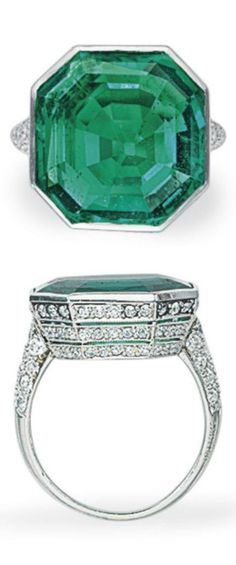 CARTIER - AN ART DECO EMERALD AND DIAMOND RING. Bezel-set with an octagonal-shaped emerald, to the single and old-cut diamond three-row gallery and shoulders, mounted in platinum, signed Cartier. #Cartier #ArtDeco #ring
