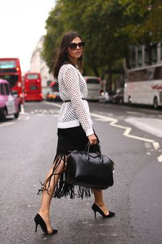 fringe midi skirt and crochet top