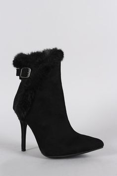 Anne Michelle Buckle Faux Fur Collar Pointy Toe Stiletto Ankle Boots - JP Murga's - 2