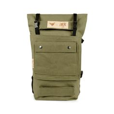 Made in HungaryRolltop BackpackSize: 20 LCarries: MAX. 10 KGWeight: 1300gDimensions: 30x65x12 cm (unrolled) / 30x50x12cm (rolled)Color: Olive GreenLabel: Dark brown leather laser engravedMaterial: Waxed Cotton CanvasLining: waterproofDescription: 1 front pocket, 2 front buckles (matte black,Duraflex), 2 side buckles for attaching the front panel (matte black, Duraflex)Padded shoulder straps reinforced with seat belt strapAdjustable chest strap and pad...