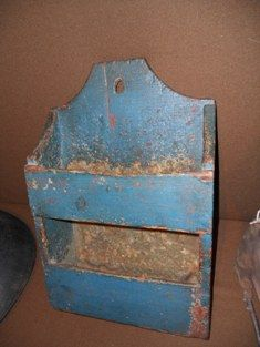 19Th C Early Blue Wall Box..I love this :)