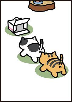 =(^x^)= Spots & Bolt Neko Atsume Wallpaper, Simons Cat, Cute App, Cat Memes, Cat Art, Animal Drawings, Cat Lovers, Dog Cat, Cute Animals