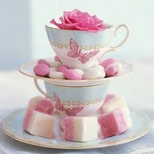 Stack Teacups & Saucers for a lovely way to serve Teatime Sweets!