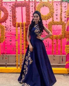 Laadesar Tridha Choudhury In Kalki Navy Blue Gown Adorn In Zari And Sequin In Floral Call or Whatsapp on or visit insta page WOMN CLOTHING. we are designer studio specialized in custom designer dresses. No CASH ON DELIVERY, worldwide delivery. Indian Wedding Gowns, Indian Gowns Dresses, Indian Outfits, Designer Gowns, Indian Designer Wear, Designer Anarkali, Party Kleidung, Western Gown, Anarkali Dress