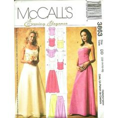 Amazon.com: McCall's Evening Elegance Sewing Pattern 3863 ~ Misses & Petite Formalwear Lined Top & Skirt ~ Size 6-8-10-12: Arts, Crafts & Sewing