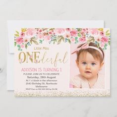 Pink Gold Little Miss Onederful Photo Birthday Invitation: Pink Gold Little Miss Onederful Photo Birthday Invitation $2.51 by Sugar_Puff_Kids Photo Birthday Invitations, Custom Invitations, Personalized Buttons, Girl First Birthday, Little Miss, Envelope Liners, White Envelopes, Pink And Gold, Floral Arrangements
