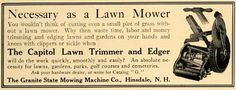 Edgers  Pirces: 1907 Ad Capitol Lawn Trimmer Edger Granite State M...