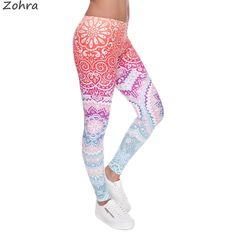 Zohraブランド女性ファッションレギンスアステカラウンドオンブル印刷レギンススリムハイウエストレギンス女性パンツ