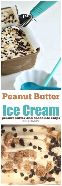 peanut butter ice cream with peanut butter pieces and chocolate chips recipe /createdbydiane/