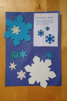 Winter theme preschool craft with poem. Photo Kathleen Intile - Blue Butterfly Family Daycare.