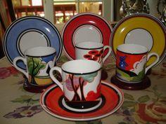 Clarice Cliffe demitasse cups / saucers