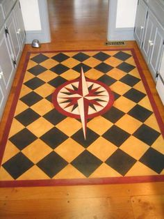 Mariners Compass Floorcloth -  #floorcloth #canvas-rug #floor-cloth #home-decor #historic