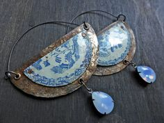 Salvaged tin earrings by fanciful devices
