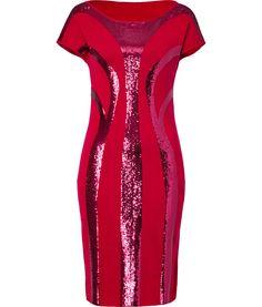 DESIGNER:ALBERTA FERRETTI SEE DETAILS HERE:Red Sequined Wool Dress