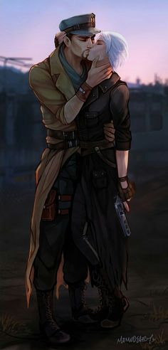 """momo-deary: """" Ready to face the day? Commission for Khaiy~ her SS Ana and Maccready ♥ """" Maccready Fallout, Fallout Fan Art, Fallout Cosplay, Fallout Comics, Nuka World, World On Fire, Fall Out 4, Post Apocalypse, Character Creation"""