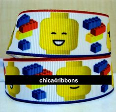 7/8 22mm LEGO BLOCKS Printed Grosgrain Ribbon by by chica4ribbons