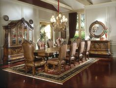Michael Amini Tuscano Traditional Formal Dining Table Set Biscotti by AICO