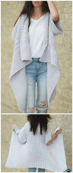 Crochet Cascading Kimono Cardigan Free Pattern - Crochet Women Sweater Coat & Cardigan Free Patterns