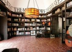 """Diane Keatons study/library. Check out my board  'Reading Nooks"""" for the perfect place to cuddle up with your chosen book."""