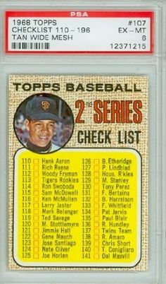 1968 Topps Baseball 107 Checklist Two TIGHT MESH PSA 6 Excellent Mint by Topps. $7.50. This vintage card featuring Checklist Two is # 107 from the 1968 Topps Baseball set