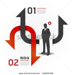 Modern Design template with business man / can be used for infographics / numbered banners / horizontal cutout lines / graphic or website layout vector - stock vector