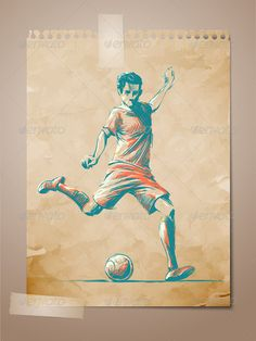 Football, Soccer Player Sketch - Sports/Activity Conceptual
