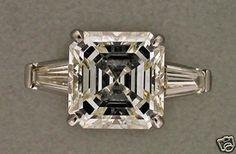 Estate 4 41ct 1910 Original Art Deco Asscher Cut Diamond Tapered Baguette Ring |