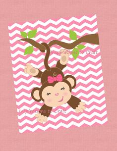 Baby Girl Monkey - Just Hanging Around - 8x10 Printable Digital Image - Baby Nursery Decoration