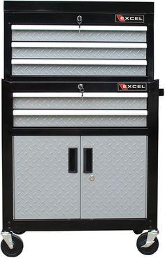 Garage Tool Chest Cabinet Roller Combination Aluminum Metal Steel Black New #Excel #Cabinet #Tool #Garage #Organizer