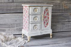 Hand Painted Rustic Chest White Decoupage Farmhouse Armoire Gift for Her Shabby Chic Jewelry Box Upcycled Tall French Large