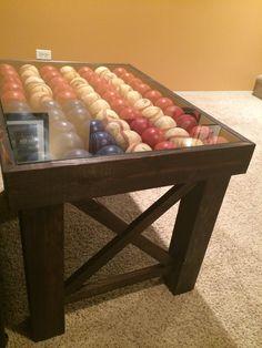 American flag shadow box baseball end table