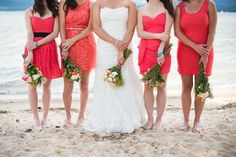 bright coral mismatched bridesmaids dresses at this rustic chic wedding     photo by O'Malley Photographers