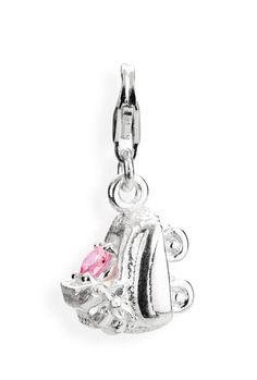 Symbols Charm, Kinderwagen aus Silber mit rosanem Zirkonia & Karabiner.
