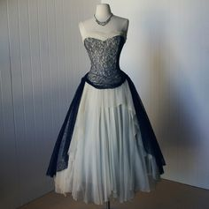 vintage 1930s - 1940s dress  ...couture designer PEGGY HUNT blue lace and cream chiffon full skirt dream dress   -featured item-