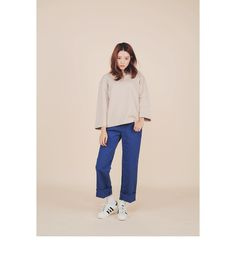 Raw Hem Straight Pants (Blue) | STYLENANDA