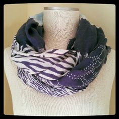 Blue J. McLaughlin Print Fringe Infinity Scarf Gently used infinity scarf by J. McLaughlin. Fringed ends. Beautiful mixture of blue-gray hues with several patterns blended to create a variety of styles! Options for styling are endless! These are just a few options; sarong for the beach, scarf, head wrap, belt, you can even wear it as a top! Lightweight and perfect for any season! DISCOUNTED BUNDLES! J. McLaughlin Accessories Scarves & Wraps