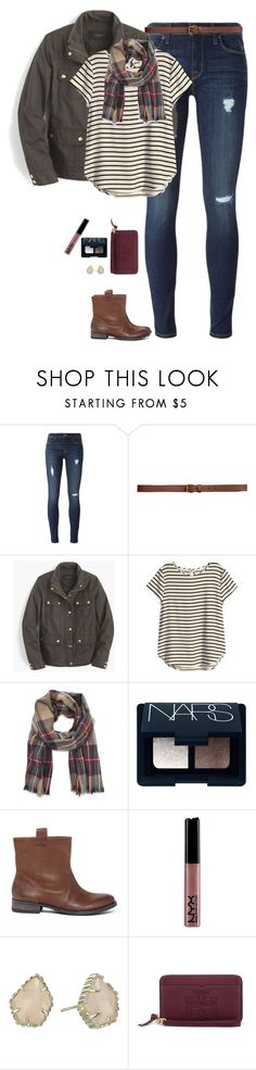 """""""Stripes & plaid"""" by steffiestaffie ❤ liked on Polyvore featuring Hudson, H&M, J.Crew, Sole Society, NARS Cosmetics, Kendra Scott and Tory Burch"""