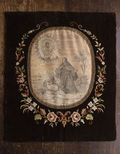Etsy のHand Embroidered Catholic Icon St. Francis Xavier? Wood Panel Retablo EX-VOTO Religious Antique/844(ショップ名:GliciniaANTIQUE)