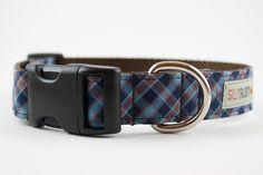 blue tartan dog collar   LFF Designs   www.facebook.com/LFFdesigns