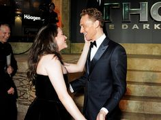 Tom Hiddleston and Kat Dennings attend the World Premiere of 'Thor: The Dark World' at The Odeon Leicester Square on October 22, 2013 in London, England