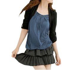 Allegra K Lady 2-Fer Black Blue Roll Up Sleeve Studded Neckline Autumn Shirt XS Allegra K. $12.74