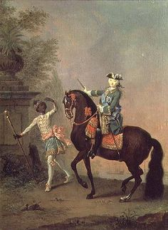 """Georg Christoph Grooth-Portrait of Empress Elizabeth Petrovna with her black servant. These men had formed part of the Russian Court since Peter the Great and were usually recruited by the Russian Ambassador to Abyssinia or presented as """"human gifts"""" by the Ethiopian Emperor. They had access to education and some became influent persons."""