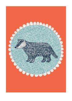 Badger art print designed by Jessica Hogarth by jessicahogarth