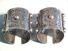 Africa | Antique pair of silver Siwa bracelets from Egypt.  Heavy (480g the pair) excellent silver, with silver stamps