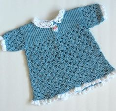 ON SALE: Blue lacy dress for baby toddler by PrincessOfCrochet