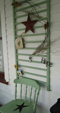 Old crib rail and chair painted spring green and decorated for hanging Old crib rail and chair paint Old Baby Cribs, Baby Crib Diy, Old Cribs, Baby Beds, Repurposed Items, Repurposed Furniture, Reclaimed Furniture, Antique Furniture, Modern Furniture
