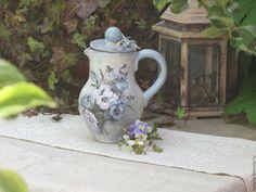 """Купить Керамический кувшин """"Анютины глазки"""" - голубой, крынка, кувшин, глечик, ваза, ваза для сухоцветов"""