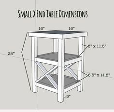Free plans for a tall and skinny X end table with 2 shelves. Build this table yourself in a couple hours and for $20 or less!