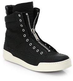 DSQUARED Stampa Embossed-Leather High-Top Sneakers