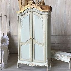 French Blue Armoire  1:12 Dollhouse Scale